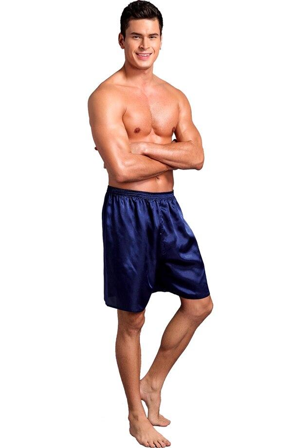 Мужские боксеры из сатина, вискозы, шелка, нижнее белье, домашняя одежда, шорты, одноцветные, смешанные, 20 шт./лот#2256 - Цвет: solid dark blue
