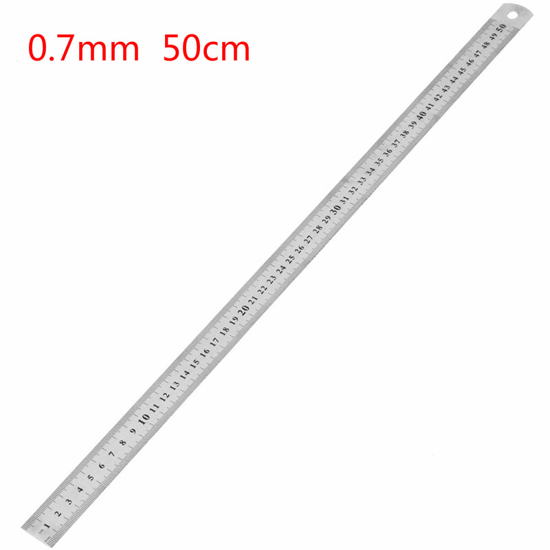 1Pcs High Quality 0.7mm Double Side Scale Stainless Steel Straight Ruler Measuring Tool 50cm School Office Supplies