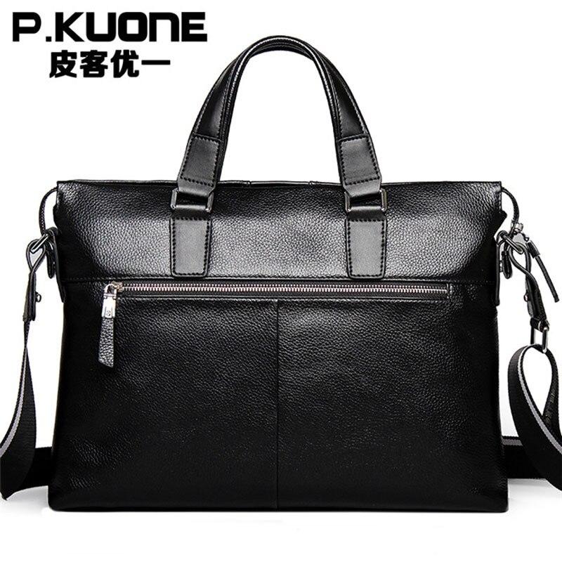 Free shipping P.kuone Genuine Leather Mens Briefcase Handbag Messenger Shoulder bag Laptop BAG M0011Free shipping P.kuone Genuine Leather Mens Briefcase Handbag Messenger Shoulder bag Laptop BAG M0011