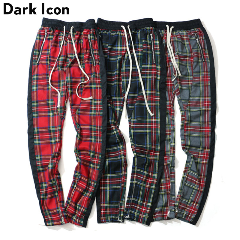DARK ICON Side Single Stripe Patchwork Elastic Waist Plaid Pants Men High Street Leg Opening Zipper Men's Pants Full Length 2019