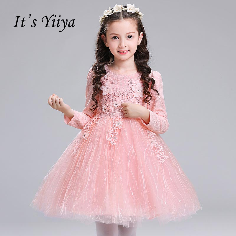 It\'s yiiya New Long Sleeves Flower Girl Dresses Bow Zipper Normal ...