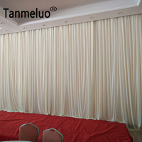 3*6M Pure Simple White Fabric Backdrop Drapes Curtains Wedding Ceremony Event Party Photo Booth Home Windows Curtains Decoration