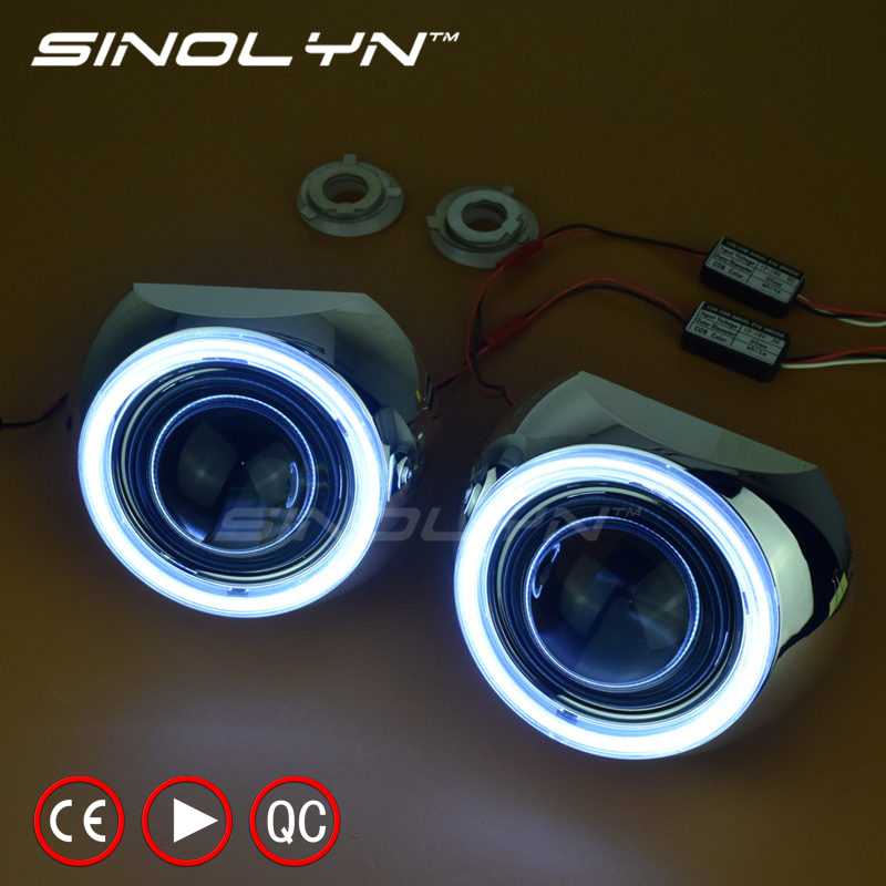 SINOLYN Car Styling 2.5'' HID Bixenon Projector Lens LED DRL Angel Eyes Halo Kit Iris Shrouds H1 H4 H7 Headlight Retrofit DIY 2 5inch bixenon projector lens with drl day running angel eyes angel eyes hid xenon kit h1 h4 h7 hid projector lens headlight