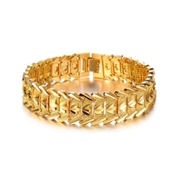Wide Yellow Gold Filled Mens Bracelet Wristband Chain Link Fashion Jewelry