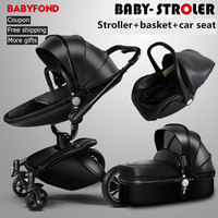High quality export baby brand Baby Stroller High View 3 in 1 Baby Carriage and free gift baby pram Brand Aulon Babyfond beb