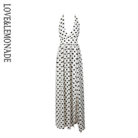 Love Lemonade Sexy Black And White Dot V-Neck Open Back Cut Out Long Dress  LM1362 5bf661f71c20