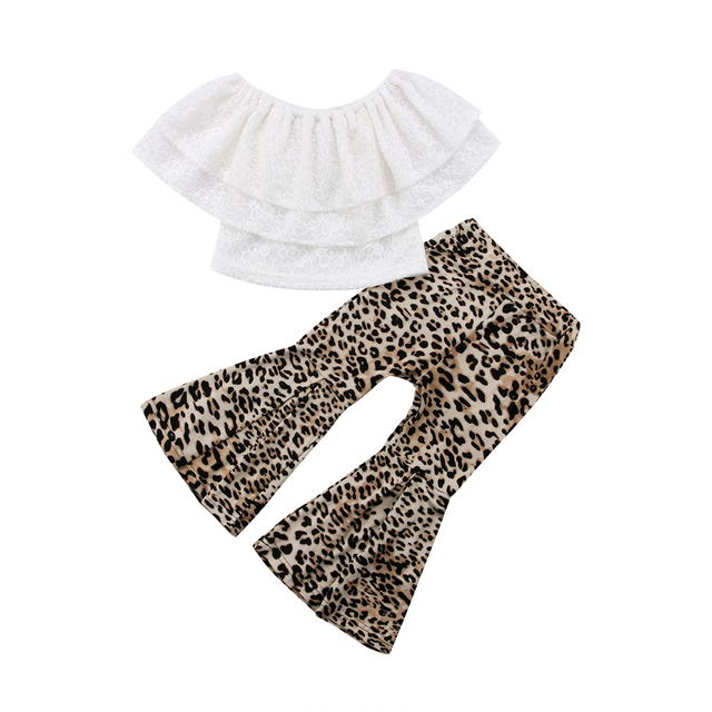 0ada5d76c0223 2018 Kids Baby Girl Clothes Lace Top Ruffle White T shirt+Flares Pants  Leopard Bell