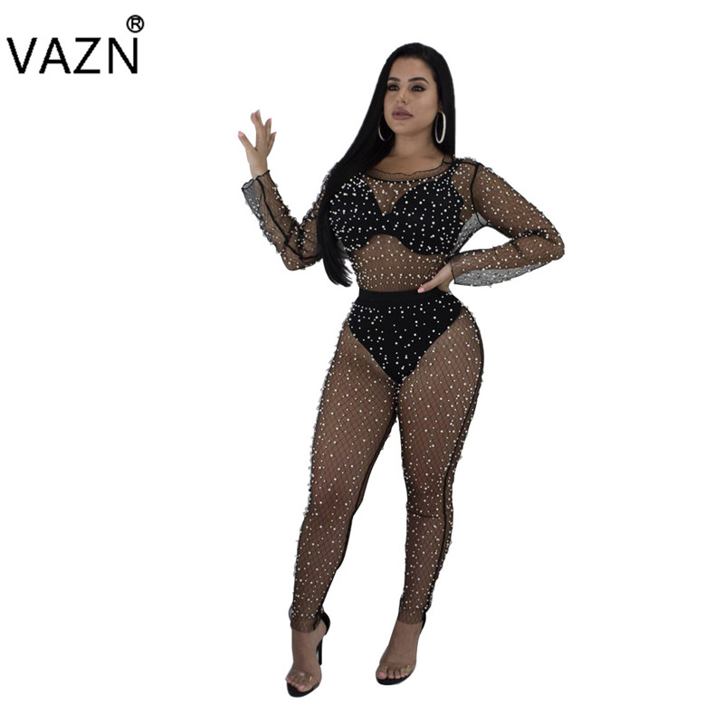 VAZN 2018 solid 3-colors see through jumpsuits women sexy bodycon jumpsuits ladies hollow out beset with pearls jumpsuits SJ3105