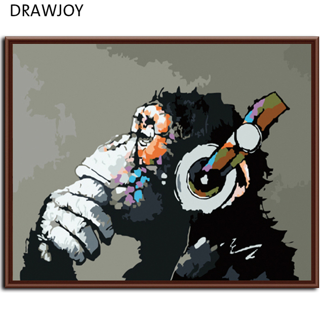 Drawjoy Home Framed Pictures Painting By Numbers Digital Oil On Canvas Wall Art Abstract Monkey G178