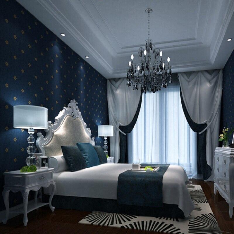 3D Dark blue non woven wallpaper modern shape wallpapers wall paper ...