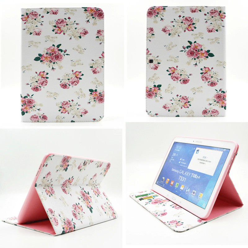 BF Cute Case Stand PU Leather Cartoon Case BOOK Cover capa para for Samsung Galaxy Tab 4 10.1 inch SM-T530 T531 T535 Tablet