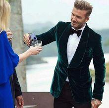 Mais recentes Modelos Casaco Calça De Veludo Verde Fumar Homens Terno Slim Fit Smoking 2 Peça Blazer Personalizado Noivo Ternos Terno do baile de Finalistas Masculino