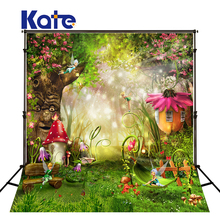 купить KATE Photography Backdrop 8x10ft Sceneric Background Forest Photography Backdrops Mushroom house Background for Photo Studio дешево