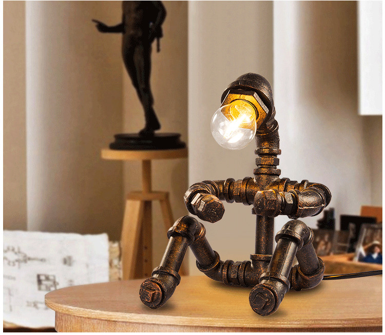 Retro industrial iron water pipes robot art Robot desk lamps ...