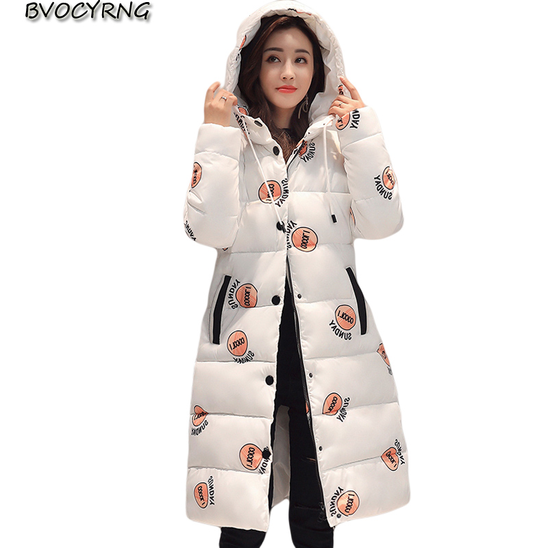 New Fashion Winter Cotton Padded Jacket Women Slim Thick Print Female Coat Parka Winter Warm Long Jackets Ladies Overcoat Q969 2017 new fashion winter jacket men long thick warm cotton padded jackets coat parka overcoat casual outwear jacket plus size 6xl