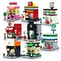 Cidade mini diy modelo de loja de qualidade da série apple e mcdonald's blocos de construção de brinquedos para crianças presentes