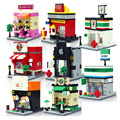 City mini DIY series quality apple and McDonald 's shop model building blocks children' s toys gifts