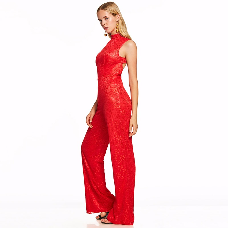 Tanpell High Neck Jumpsuits Evening Dress Red Sleeveless Floor Length Sheath Gown New Women Backless Formal Long Evening Dresses High Quality Materials Weddings & Events