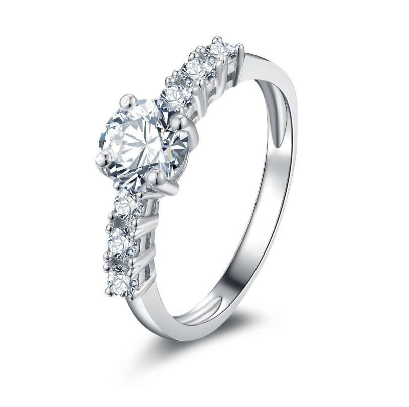 0.8 carat Fashion 925 Sterling Silver SONA Diamond Engagement Ring (XJ)