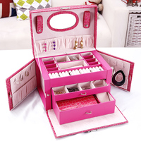 New Brand Jewelry Box Gift Box for Jewelry Packaging Display Large Women Makeup Case Luxury Earring Ear Nail Jewelry Storage