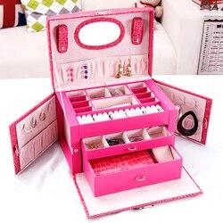 Nueva caja de joyería, caja de regalo para joyería, caja grande de maquillaje para mujer, caja de lujo para pendientes, almacenamiento de joyería para uñas
