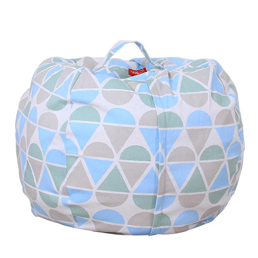Storage Bags Kids Stuffed Animal Plush Toy Storage Bean Bag Soft Pouch Stripe Fabric Cha ...