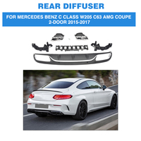 PP Rear Diffuser Lip Spoiler Bumper Guard With Exhaust Muffler For Mercedes Benz C Class W205 C63 AMG Coupe 2 Door 2015 2017