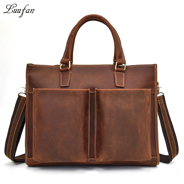 Men S Vintage Genuine Leather Briefcase Fit 14 Laptop Cow Business Bag A4 Work Tote