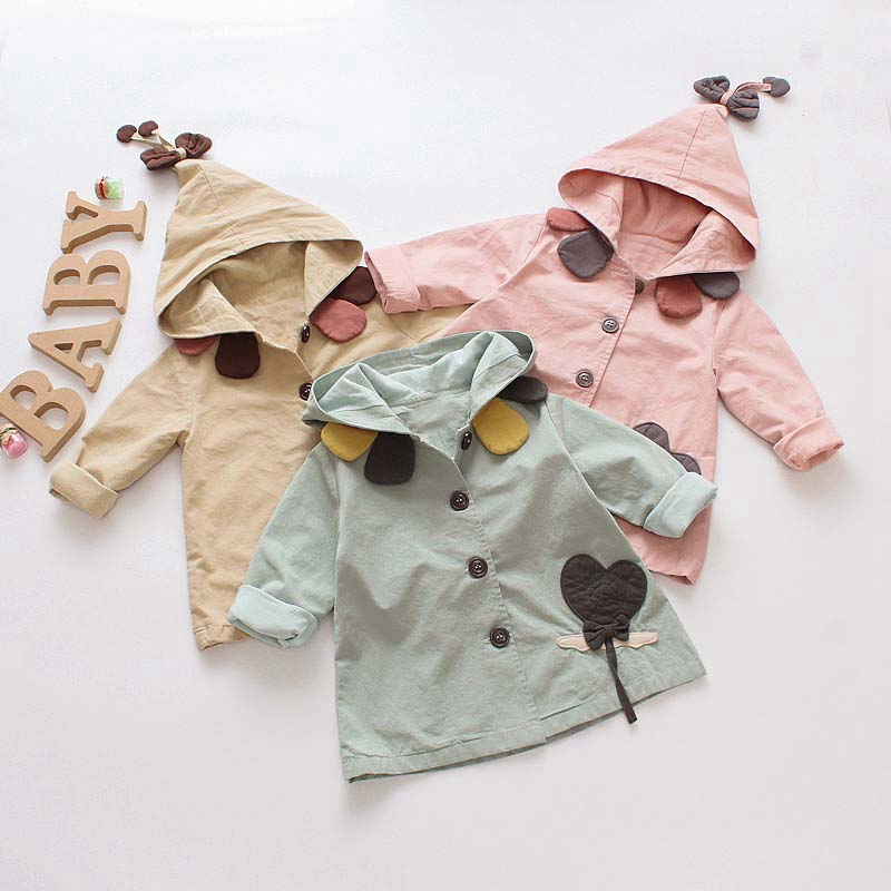 New Spring Autumn Children Girls cartoon Cute Petal collar Flower patch Hooded Outerwear Cardigan Coat Jacket   Trench   Coat C464