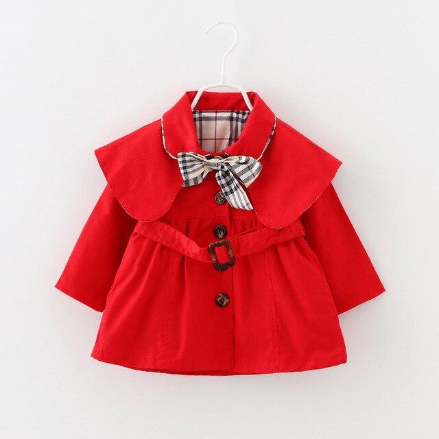 Осень новый малышей Лацкан пальто ветровка Девушка Корейской Моды Девочка Пальто Детская Пальто с бантом пояс Бесплатная Доставка