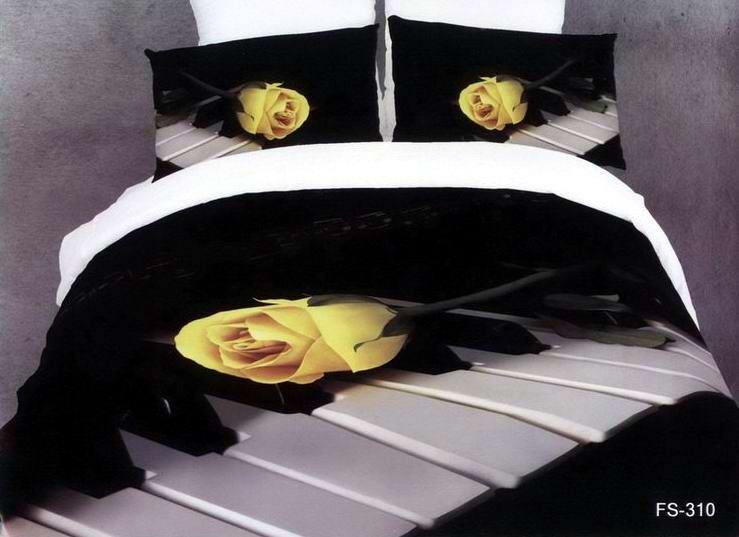 3d black and white rose music note bedding comforter sets - Housse de couette noir et rose ...