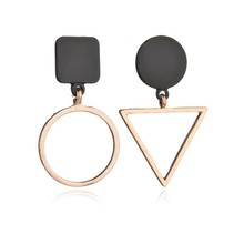 simple fashion geometric design Round Triangle Asymmetry trendy temperament charm Stud Earring Women