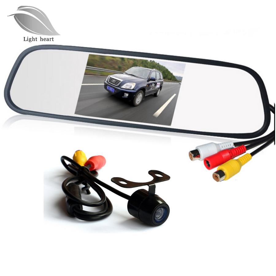 Prix pour Aide Au stationnement Système 2 en 1 4.3 Numérique TFT LCD Miroir Auto Parking Moniteur + 170 Degrés Mini vue Arrière de Voiture caméra