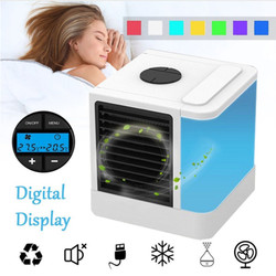 Mini Personal Air Cooler & Humidifier Portable Air Conditioner USB Mute Table Fan Device 7 Color Lights Air Conditioner WT-303