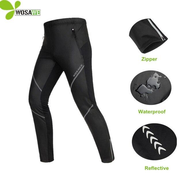 WOSAWE caliente PU ciclismo pantalones de invierno de los hombres de lana  térmica bicicleta reflectante senderismo 236b055225dd