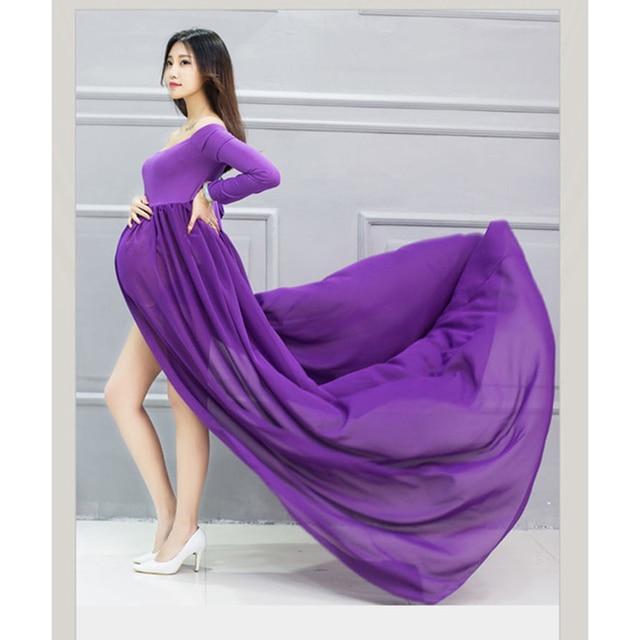 Long Sleeve Chiffon Maternity Dress Photo Shoot Maxi Maternity Gown ...