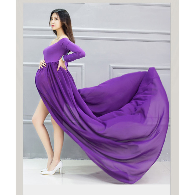 Long Sleeve Chiffon Maternity Dress Photo Shoot Maxi Maternity Gown Split Front Pregnancy Gown Sexy Maternity Photograph Props
