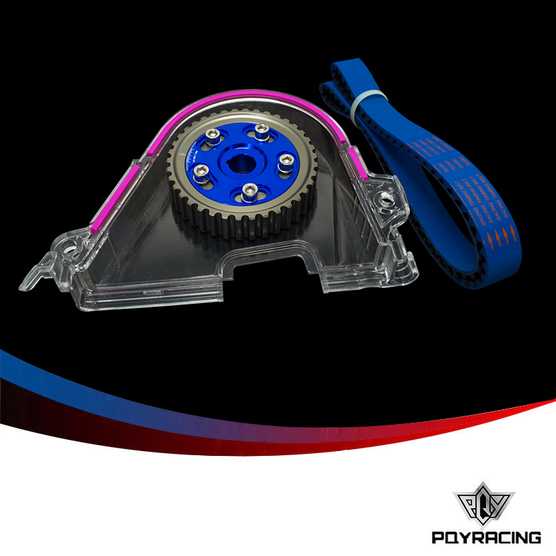 PQY RACING- HNBR Racing Timing Belt + Aluminum Cam Gear + Cam Cover FOR 92-00 Civic D16Z D16Y PQY-TB1002B+6542B+6337 vr racing hnbr racing timing belt