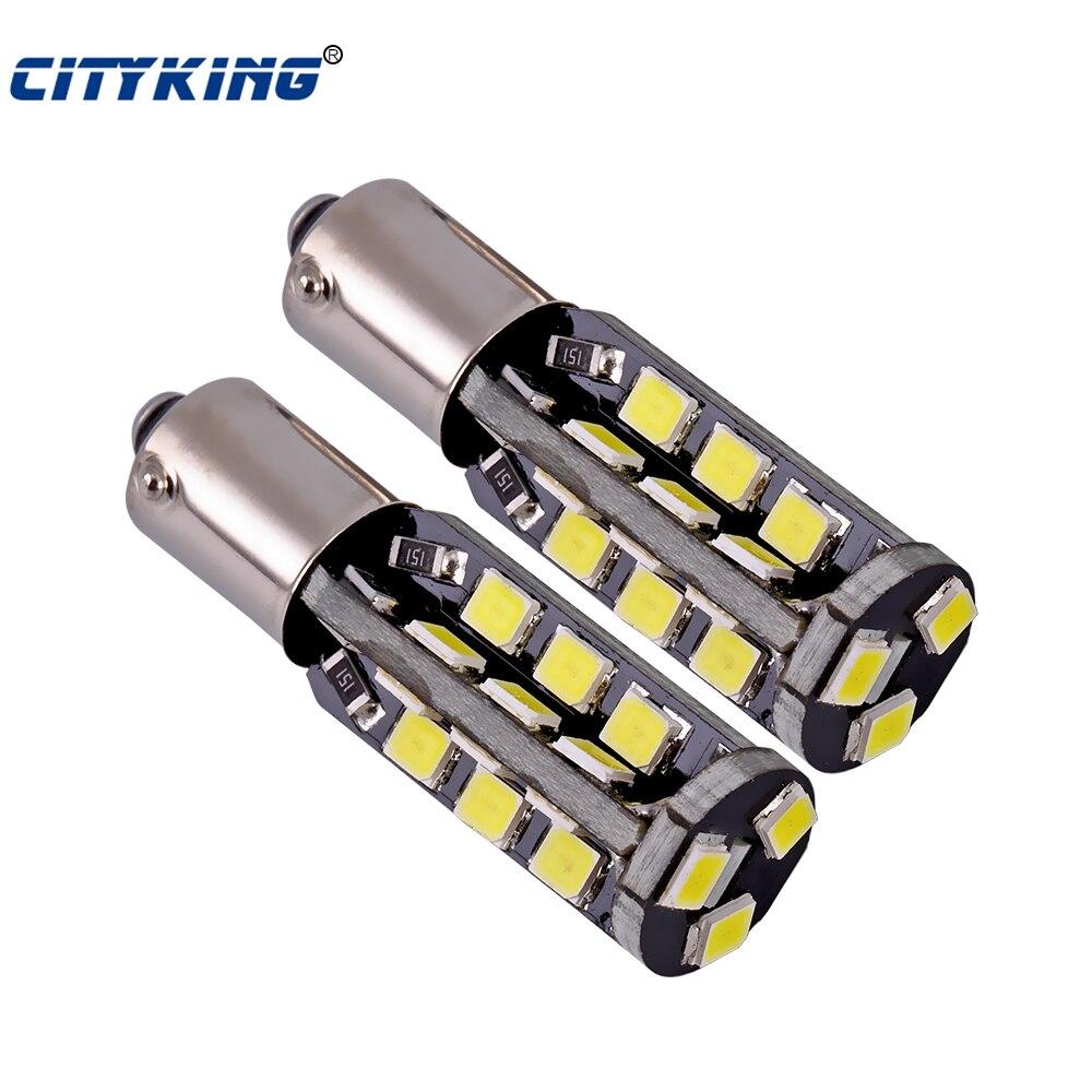 Wholesale 2pcs/Lot Canbus ba9s led 27smd 2835 LED car Light ba9s led bulb t4w 27led  W5W 194 SMD Error Free White Light Bulbs