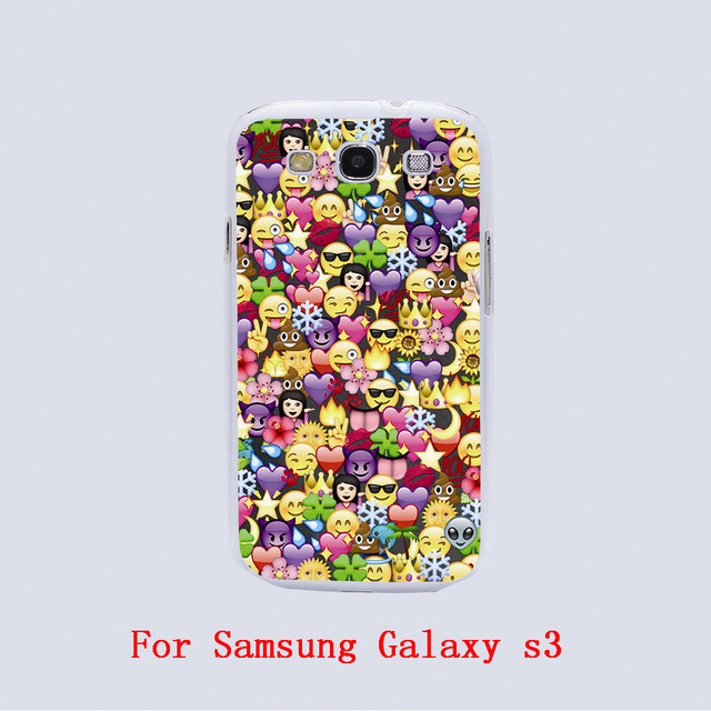 Emoji Wallpaper Design Black Skin Phone Cover Cases For Samsung Galaxy S3 9300 S4