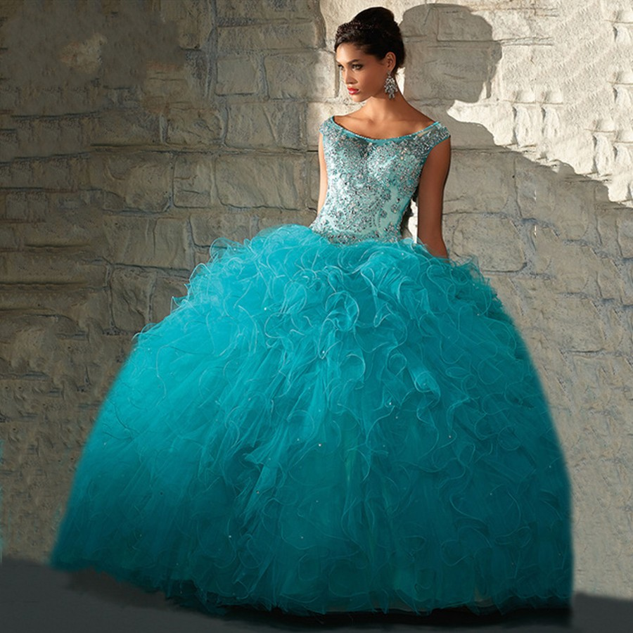 4599f629bd0 Aqua Blue Quinceanera Dresses With Sleeves