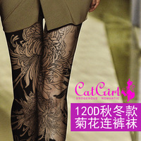 New Specials 120 D Chrysanthemum Printing Pantyhose Personality Fake Tattoo Filar Socks With Thick Leggings