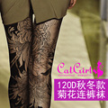 Women Tights New Specials 120 D Chrysanthemum Printing Pantyhose Personality Fake Tattoo For Filar Socks With Thick Leggings
