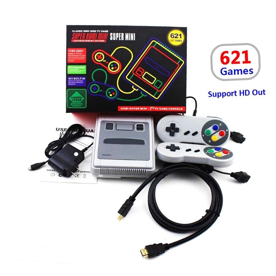 Mini consola de juegos de TV compatible con HDMI 8 Bit consola de videojuegos Retro incorporada 621 juegos de TV clásicos de mano juego de vídeo familiar