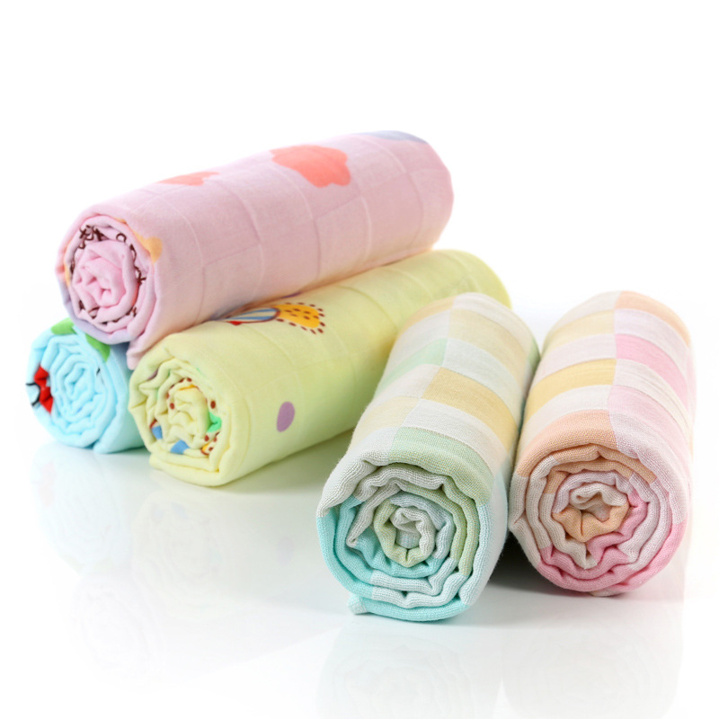 Cute Cotton Absorbent Double Gauze Baby Bath Towel Cute Cartoon Baby Towel Baby Newborn Baby Holding 90*100