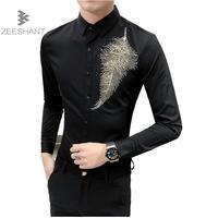 Zeeshant 2018 Diamond Leaf Pure Color Business Formal Dress Shirts Men Fashion Long Sleeve Shirts In