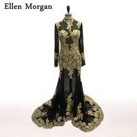 Wysoka Neck Z Długim Rękawem Suknie Wieczorowe Przepuszczalność Illusion Tulle z Gold Lace Red Carpet Vestido Longo Balu Długie Suknie 2017