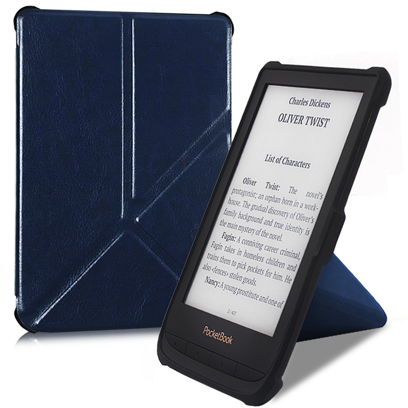 BOZHUORUI smart cover case for <font><b>Pocketbook</b></font> <font><b>616</b></font> 627 632 e-Books,Touch Lux 4/Basic Lux 2/Touch HD 3 Folding stand PU Leather Cover image
