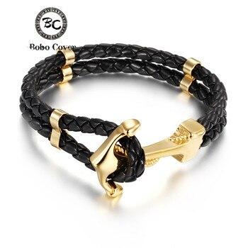 6233c3b9556a Punk Multilayer cuero genuino pulseras de acero inoxidable encanto  esperanza pareja ancla pulseras brazaletes para hombres mujeres joyas  regalos