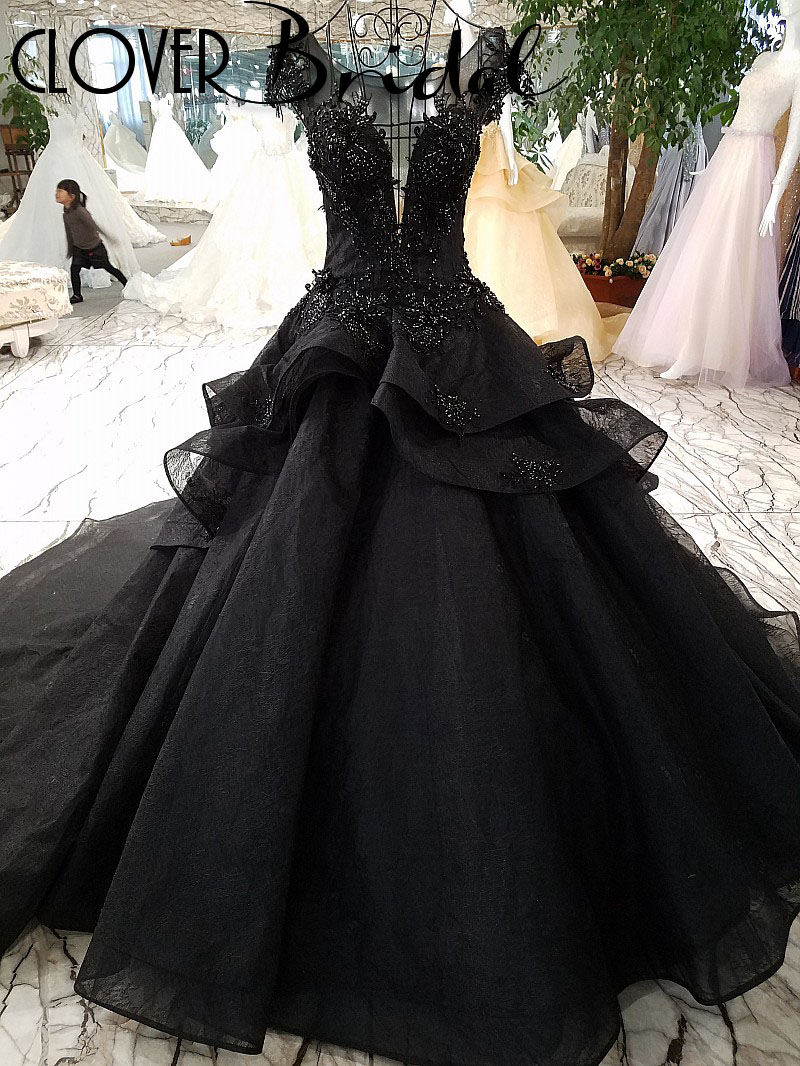CloverBridal 2018 high quality organza lace long train beaded sleeveless black wedding dress 100cm tail sides ribbons